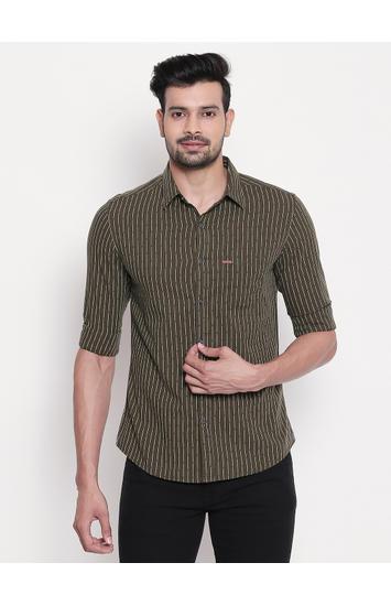 Olive Striped Slim Fit Shirt