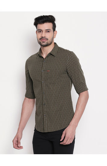 Olive Striped Slim Fit Shirt