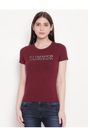Deep Wine Typography Print T-shirt