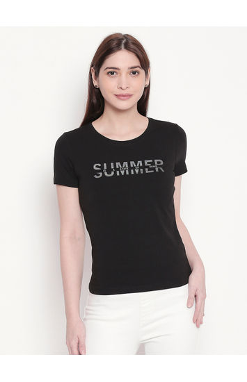 Black Typography Print T-shirt