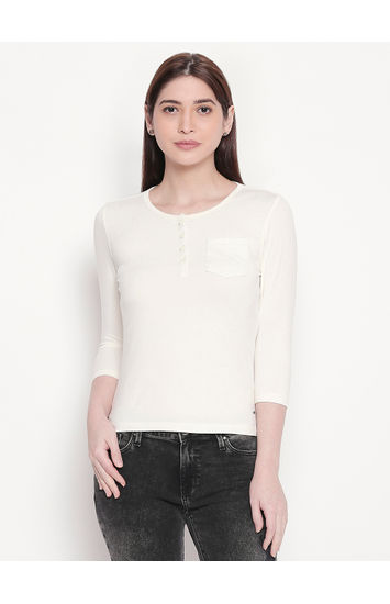 Ecru Solid Henley Neck Top