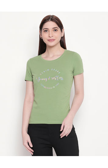 Green Printed Regular Fit T-shirt