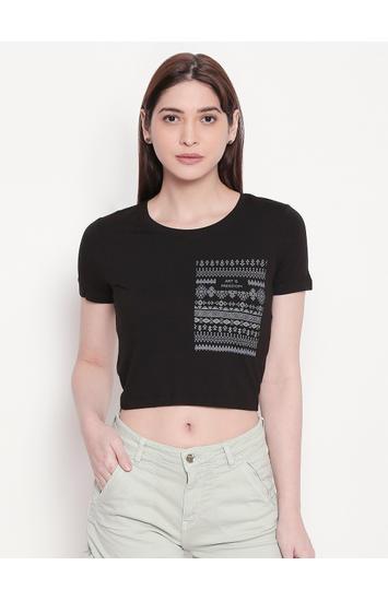 Black Printed Crop Fit T-shirt