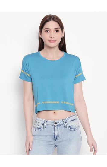 Electric Blue Crop Fit T-shirt