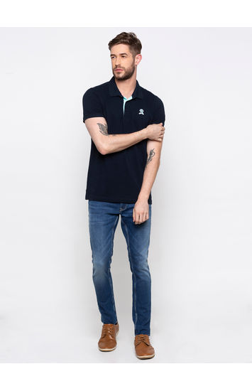 SPYKAR Navy Cotton Slim Fit T SHIRTS