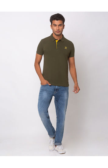 SPYKAR Olive Cotton Slim Fit T SHIRTS