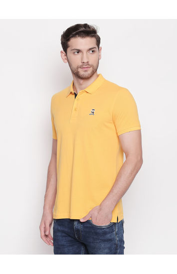 SPYKAR Yellow Cotton Slim Fit T SHIRTS