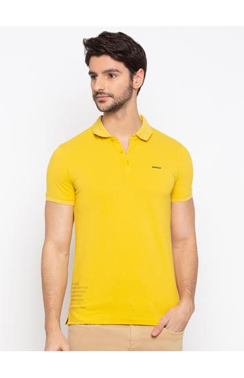 SPYKAR Yellow Blended Slim Fit T SHIRTS