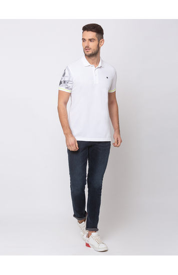 SPYKAR White COTTON SLIM FIT T SHIRTS