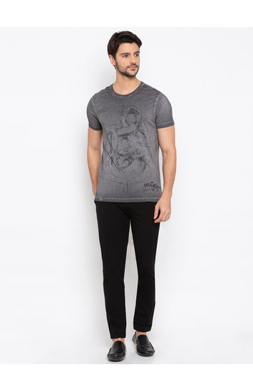 SPYKAR DK GREY Cotton Slim Fit T SHIRTS
