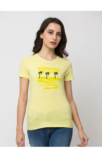 SPYKAR LEMON YELLOW Lycra jersey Regular Length T SHIRTS