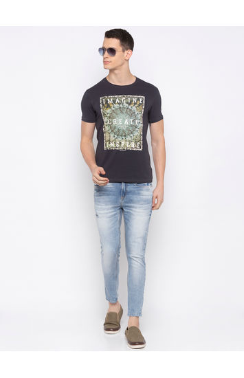 SPYKAR Charcoal Blended Slim Fit T SHIRTS