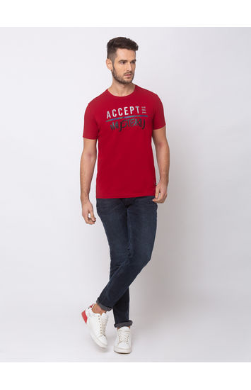 SPYKAR TRUE RED BLENDED SLIM FIT T SHIRTS