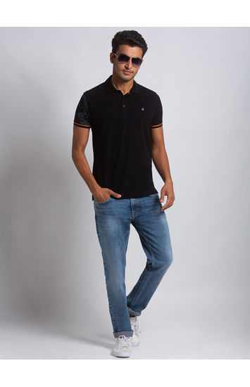 SPYKAR Black COTTON SLIM FIT T SHIRTS