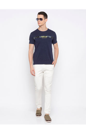 SPYKAR Navy Blended Slim Fit T-SHIRTS