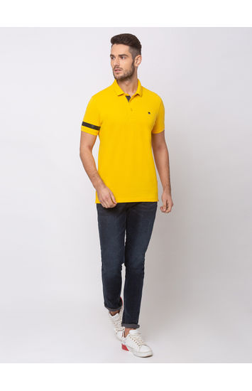 SPYKAR CHROME YELLOW COTTON SLIM FIT T-SHIRTS