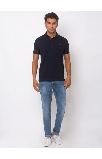 SPYKAR NAVY BLUE COTTON SLIM FIT T-SHIRTS