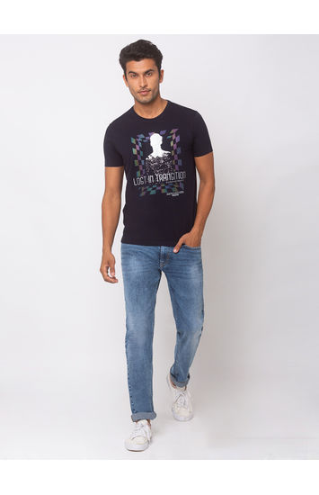 SPYKAR NAVY BLUE BLENDED SLIM FIT T-SHIRTS