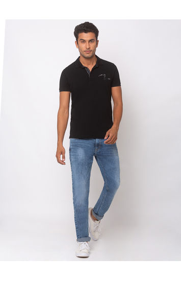 SPYKAR Black COTTON SLIM FIT T-SHIRTS
