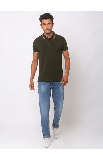 SPYKAR RIFLE GREEN COTTON SLIM FIT T-SHIRTS