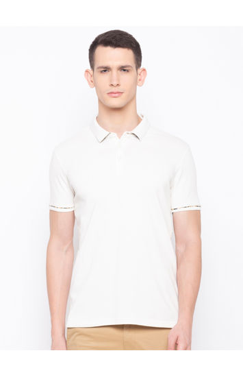 SPYKAR Ecru Cotton Slim Fit T-SHIRTS