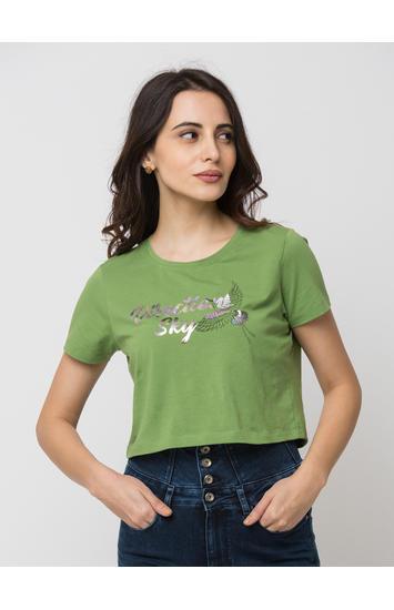 SPYKAR Green Lycra jersey crop Length T-SHIRTS