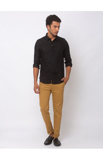 SPYKAR Black Cotton Slim Fit SHIRTS