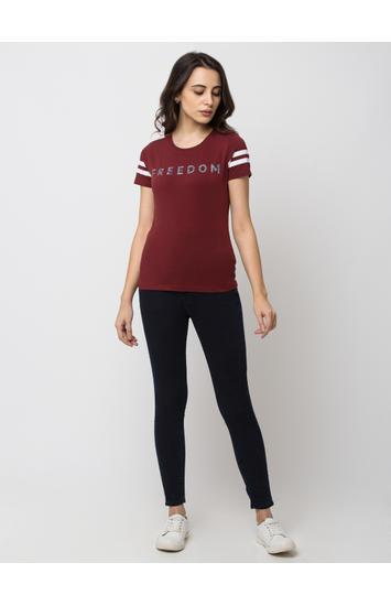spykar Red Cotton T-Shirts