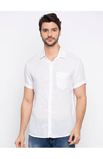 spykar White Linen Casual Shirts