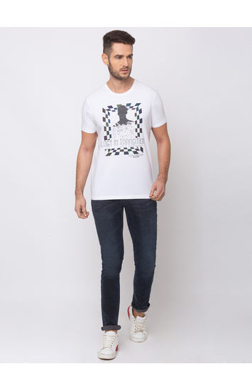 spykar White Printed Cotton T-Shirts