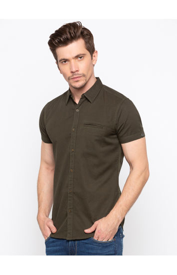 Dark Olive Solid Slim Fit Casual Shirts