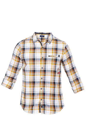 Mustard Checked Slim Fit Casual Shirts