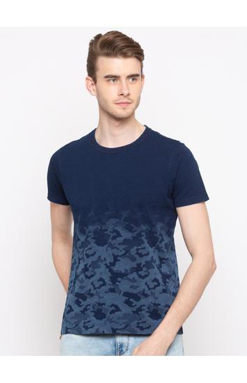 Indigo Solid Slim Fit T-Shirts
