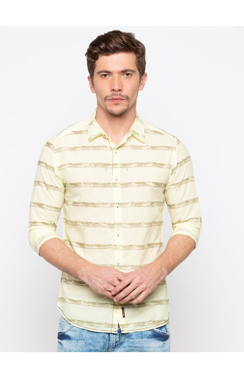 Yellow Striped Slim Fit Casual Shirts