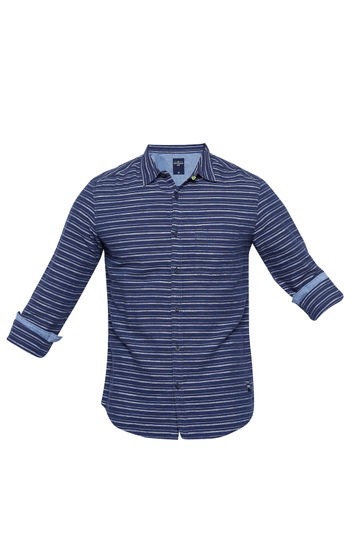 Navy Striped Slim Fit Casual Shirts