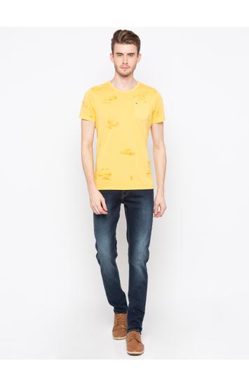 Mustard Printed Slim Fit T-Shirts