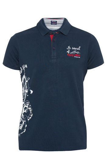 Navy Printed Slim Fit Polo T-Shirt