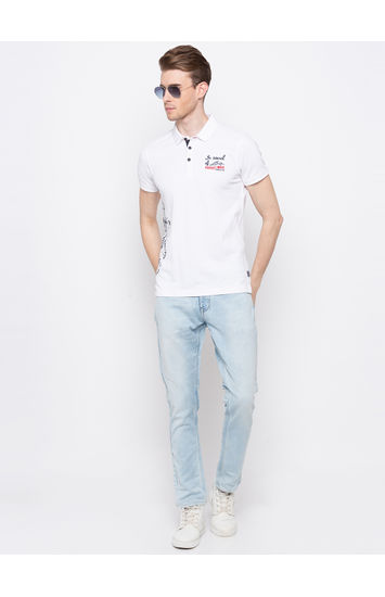 White Printed Slim Fit Polo T-Shirt