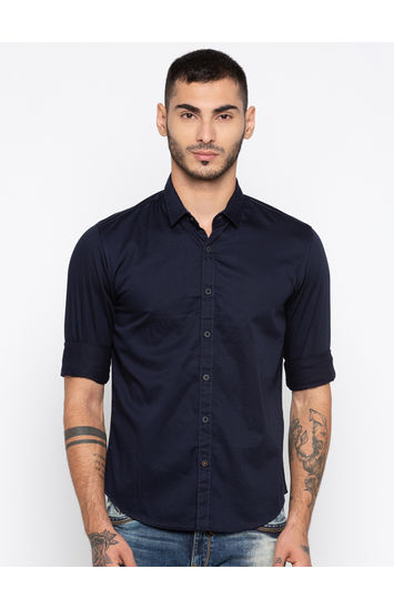 Navy Solid Slim Fit Casual Shirts