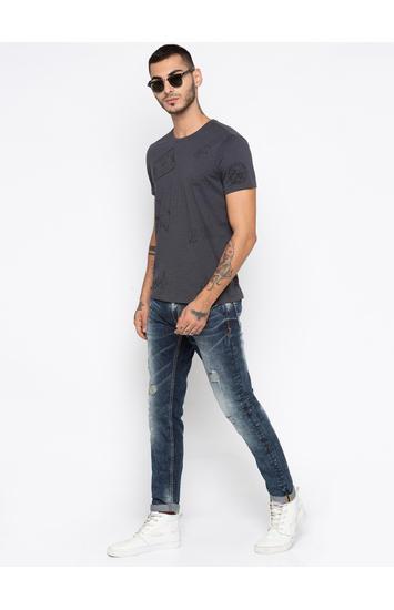 Dark Grey Printed Slim Fit T-Shirts
