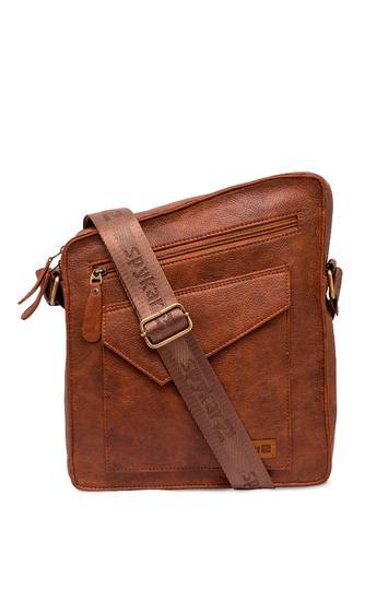 Spykar Tan Geniune Leather Messenger Bag
