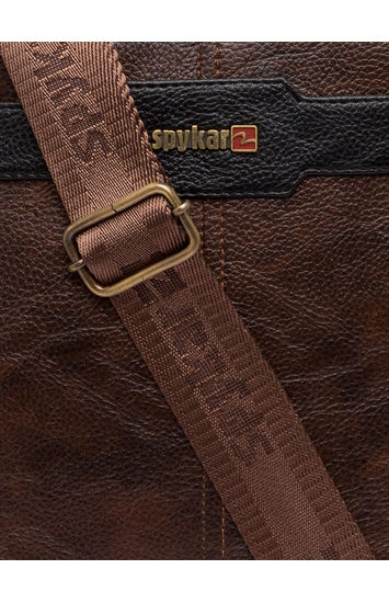 Spykar Brown Geniune Leather Messenger Bag