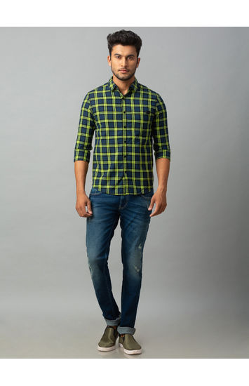 Spykar Green Cotton Slim Fit Shirts (Slim)