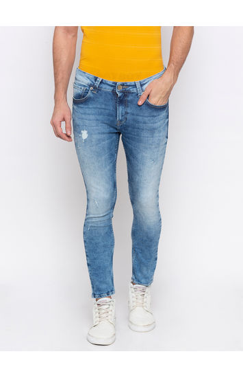 Light Blue Ripped Slim Thigh Ankle Length Fit Jeans