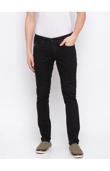 Jet Black Solid Skinny Fit Jeans