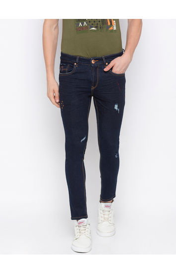 Raw Blue Ripped Slim Fit Jeans