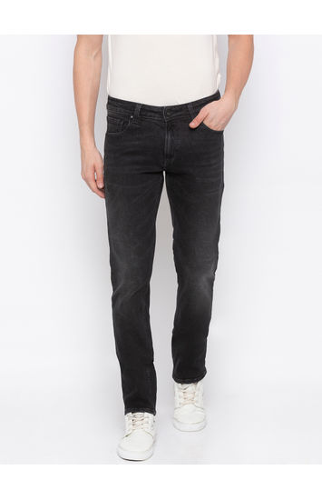 Carbon Black Solid Tapered Jeans