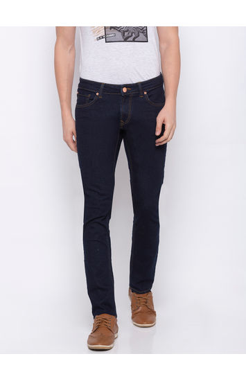 Blue Solid Skinny Fit Jeans