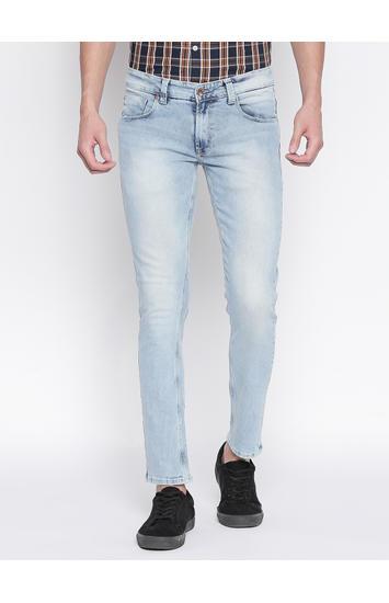 Light Blue Solid Super Skinny Fit Jeans