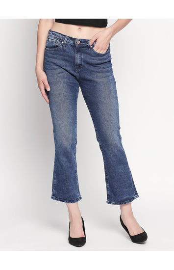 Mid Blue Solid Bootcut Jeans